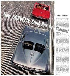Corvette New Corvette Sting Ray By Chevrolet It's A Gasser Chevrolet Corvette history thru Photographs Chevrolet Corvette, Old Corvette, 1967 Corvette Stingray, Corvette History, Gm Car, Car Advertising, Unique Cars, Rat Rods, Hot Cars