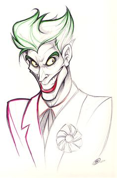 A simple sketch of everyone's favorite Joker. Sadly my scanner pretty much destroyed it (it seems to hate anything with color) but at least you can stil. That Joker Smile Joker Sketch, Joker Drawings, Pencil Art Drawings, Cartoon Drawings, Drawing Sketches, Joker Art, Batman Art, Joker Joker, Batman Robin