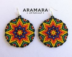 Your place to buy and sell all things handmade Round Earrings, Star Earrings, Native American Earrings, African Necklace, Mexican Jewelry, Mexican Folk Art, Beaded Flowers, Bead Art, Tatting
