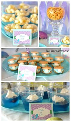 The Little Mermaid Ariel Birthday Party ~ Ideas, Food, Crafts & More Little Mermaid Birthday Party Food Little Mermaid Birthday, Little Mermaid Parties, The Little Mermaid, Oyster Cookies, Mermaid Party Food, Games Mermaid, Ariel Party Food, Mermaid Party Invitations, Ariel Mermaid