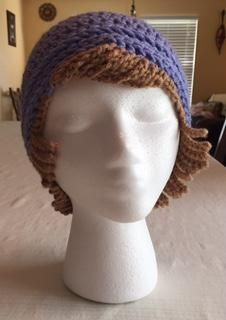 Crochet Chemo Hat With Hair Free Hat Pattern - Crochet News Crochet Beanie Hat, Crochet Cap, Cute Crochet, Crochet Stitches, Knitted Hats, Crochet Patterns, Crochet Wig Pattern, Hat Patterns, Chemo Caps Pattern