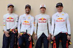 Daniel Ricciardo, Max Verstappen, Pierre Gasly and Brendan Hartley - 2018 Red Bull/Torro Rosso line up