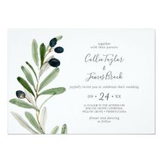 Modern Olive Branch Horizontal Wedding Invite with elegant yet rustic watercolor botanical green leaves and black olives on a branch with a classic mediterranean feel. Click to customize with your personalized details today. Beautiful Wedding Invitations, Wedding Invitation Sets, Invitation Design, Invite, Easy Watercolor, Watercolor Wedding, Floral Watercolor, Olive Branch Wedding, Simple Weddings