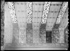 Porourangi's descendants expanded their influence through conflicts with neighbouring tribes, most of whom were also descended from Toi. This woven tukutuku image of Toi (second from left) is in the Whitirēia meeting house at Whāngārā, near Gisborne. Maori Designs, Maori Patterns, Polynesian People, Each And Everyone, Maori Art, Painting Patterns, Weaving, Image, Building Architecture