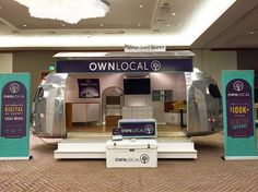 We're ready for the #2016MegaConf stop by and see us at our booth #branding #conference #conferencestrategy #localmedia #startuplife #airstream by ownlocal