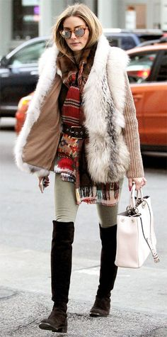 fur-vest-army-pants-belted-scarf-winter-layers-over-the-knee-boots-olivia-palermo-via-instyle.com