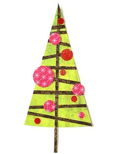 Give a Christmas tree contemporary flair with branches placed off-kilter and round ornaments in various sizes. Small-scale prints work best for tiny pieced shapes, such as the ornaments.