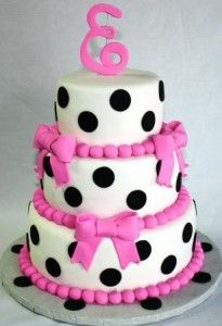 Tiered Polka Dots and Bows Baby Shower Cake