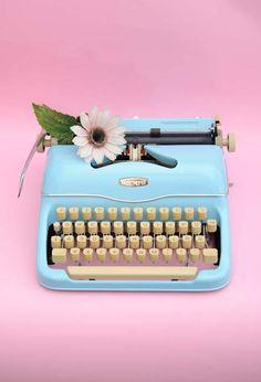 Light blue typewriter by Fräuleinwunder typewriters - Revamped vintage typewriters