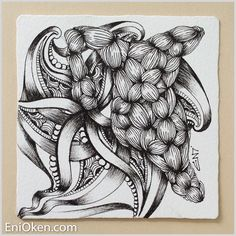 I can't believe how long its been since I posted on my blog. Almost two  weeks! I have a very good excuse.... Working on another book, and I'm  completely inspired with this one!  The focus tangle for the Shading Zentangle® FB group challenge this week is  Garlic Cloves, a wonderfully fun tangle deconstructed by Jacquelien  Bredenoord here.  What a fun tangle to create! I simply loved this one.  Learn to create amazing Zentangle® • enioken.com  Accidental String  The first tile I picked up…