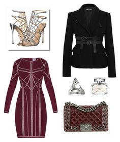 """""""Untitled #127"""" by joanna-tabakou on Polyvore featuring Hervé Léger, Sergio Rossi, Chanel, Kasun, Tom Ford and Gucci"""