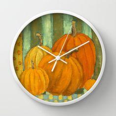 Five Pumpkins Wall Clock