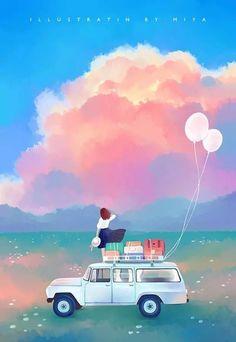 Girls 4, Concept Art, Scenery, Vehicles, Art, Conceptual Art, Landscape, Car, Paisajes