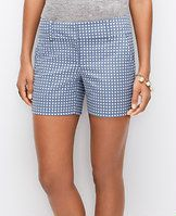 "Dot Jacquard City Shorts - Relaxed enough for uptown. Sleek enough for downtown. A spot-on charmer for warm days (and nights), this dotted jacquard pair always makes its mark. Contoured waistband. Front zip with double hook-and-bar closure. Belt loops. Front off-seam pockets. Back welt pockets. 4 1/2"" inseam."