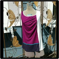 Color Block Knit Top This top is a color block knit sleeveless top. Colors: purple, white & dark blue. Gathered on front. 41 Hawthorne  Tops