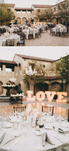 Marquee Letter Lights in the background serve as a glamorous backdrop to this outdoor wedding reception - love the statement simplicity of the letters and the delicate opulence of the florals - Indian wedding decor - Indian decor ideas - wedding decor DIY Chic Wedding, Perfect Wedding, Wedding Styles, Wedding Reception, Our Wedding, Wedding Venues, Dream Wedding, Reception Backdrop, Trendy Wedding