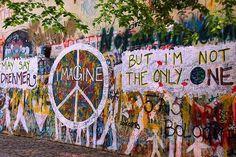 Imagine: John Lennon street art wall in Prague