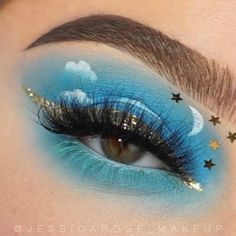 Eye Makeup Designs, Eye Makeup Art, Blue Makeup, Eyeshadow Makeup, Creative Eye Makeup, Colorful Eye Makeup, Ethereal Makeup, Hooded Eye Makeup Tutorial, Indie Makeup