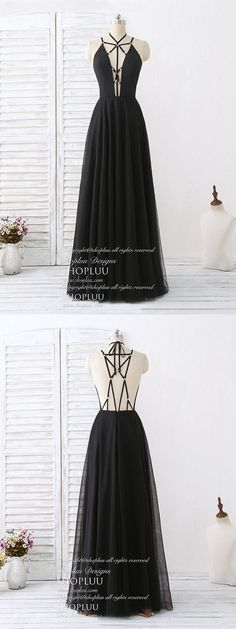 Black tulle backless long prom dress, black evening dress, black formal dress