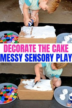Shaving Cream Sensory Play to Decorate the Cake — Days With Grey - - Preschoolers can use shaving cream in sensory play with this simple cake decorating idea! It's messy. It's fun. It is pure preschool play magic that you do not want to miss out on. Toddler Learning Activities, Infant Activities, Kids Learning, Sensory Play For Toddlers, Sensory Activities For Preschoolers, Eyfs Activities, Indoor Activities, Summer Activities, Family Activities
