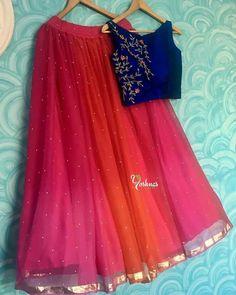Indian Fashion Dresses, Indian Gowns Dresses, Dress Indian Style, Indian Designer Outfits, Indian Outfits, Half Saree Lehenga, Indian Lehenga, Kids Lehenga, Half Saree Designs