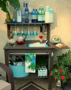 "Potting bench turned outdoor bar - going on the ""honey-do"" list!!"
