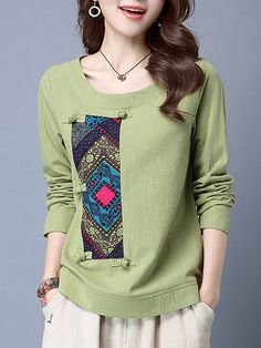 #AdoreWe #StyleWe Designer T-Shirts - Designer Yifeiduona Jacquard Cotton-blend Long Sleeve Paneled T-Shirt - AdoreWe.com
