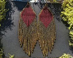 Golden Dawn Olive...Beaded Fringe Earrings