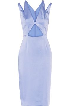 Light-blue crinkled silk-satin Concealed hook and zip fastening at back 100% silk Dry clean