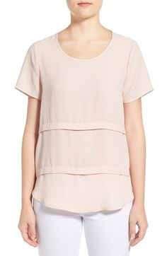 Pleione Short Sleeve Tiered Top (Regular & Petite) available at #Nordstrom