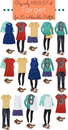 Finding outfits that mix and match can be difficult. I have found 15 outfits for you that you can make with just 12 pieces including shoes and accessories!