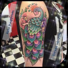 https://www.facebook.com/VorssaInk/, http://tattoosbykata.blogspot.com, #tattoo #tatuointi #katapuupponen#vorssaink #forssa #finland #traditionaltattoo #suomi #oldschool #pinup #peacock