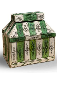 "Coffre by Isabelle de Borchgrave.    Paper box realised for the exhibition ""Baba Yaga, le papier et ses sortilèges"", Gallerie du Passage, Paris, November 2010.    Dimension: 23 x 24,5 cm"