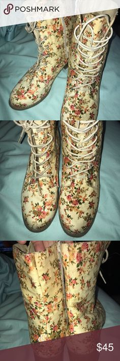 Wild Diva size 10 flower boots. Brand new Wild Diva size 10 flower patterned boots. Perfect condition. Wild Diva Shoes Lace Up Boots