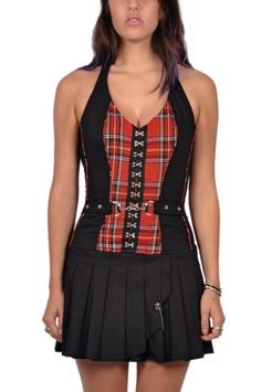 f32e2e32c4 Tripp NYC G-Pleat Dress Plaid Print - TrashandVaudeville.com Punk Outfits