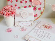 Convite Princesa Rosa e Bege Provençal