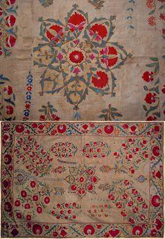 Antique Central Asian Suzani. Silk Embroidery on Cotton  Circa 1820