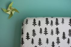 fitted crib sheet in black forest