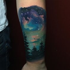night sky tattoo landscape                                                                                                                                                     More