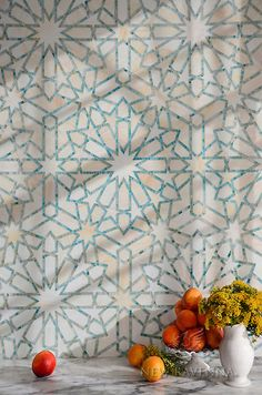 Castilla, a jewel glass waterjet and hand-cut mosaic shown in Quartz and Aquamarine, is part of the Miraflores Collection by Paul Schatz for New Ravenna Mosaics. Mosaic Glass, Mosaic Tiles, Tiling, Ravenna Mosaics, New Ravenna, Botanical Wallpaper, Tile Patterns, Islamic Patterns, Geometric Patterns