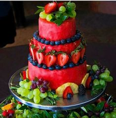 Watermelon Carving Ideas for Parties – Slick Housewives Watermelon Carving Ideas for Parties of any kind. So many easy watermelon carving ideas and watermelon. Fruit Cake Watermelon, Fresh Fruit Cake, Watermelon Carving, Watermelon Ideas, Cake Made Of Fruit, Carved Watermelon, Fruit Cakes, Fruit Party, Fruit Snacks