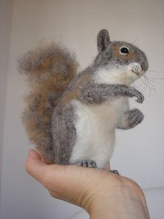 Needle Felted Squirrel by Needle Felted Animals, Felt Animals, Cute Animals, Curious Creatures, Woodland Creatures, Wet Felting, Needle Felting, Wooly Bully, Wool Applique