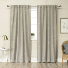 Aurora Home Star Struck 84-inch Insulated Thermal Blackout Curtain Panel Pair - 52 x 84 (Dove) (Polyester, Novelty)