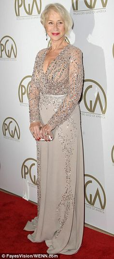 Chiffon showpiece: The 68-year-old star looked elegant in the dress decorated with sequins and crystals