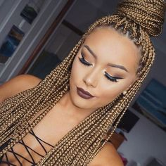 Honey Blonde Box Braids #makeupbybrittanyantonio