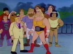Hulk Hogan's Rock'n'Wrestling cartoon.  Hulk Hogan, Roddy Piper, Jake the Snake, Supafly, Jim Studd, Moolah, Junk Yard Dog.