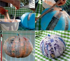 bricolage Halloween facile-citrouille-ballon-gonflé-papier-mâché Fete Halloween, Halloween Crafts, Happy Halloween, Fall Crafts, Seasonal Decor, Paper Crafts, Instructions, Journal, Candy