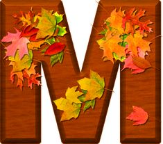 Presentation Alphabets: Cherry Wood Leaves Letter M