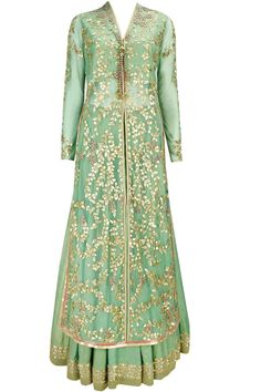 This green color lehenga is featuring in french net long jacket with lazer cut gota patti embroidery and beadwork all over. It is paired with a matching foiled