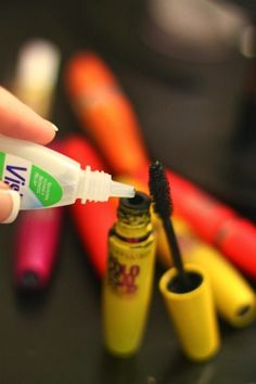 How To Fix Clumpy Mascara The problem is it dries out and then starts to form unattractive lumps. To help prevent this, don't pump your mascara ; you're basically pumping air into the tube causing it to dry out even faster. Although mascara should be replaced every 3 to 4 months, But is a fix for that! Add a drop or two of Vision (or any brand of eye drops) into the tube, and then rub the wand around inside. The Visine softens the mascara liquid, making it apply as if it were a brand new…